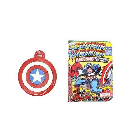 Kit Viagem (Passaporte + Tag) Marvel - Capitão America