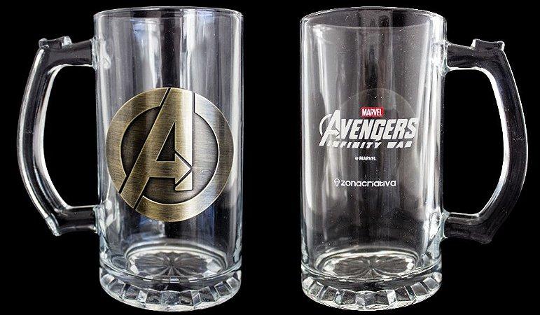 Caneca com Brasão de Metal 450ml Marvel - Avengers