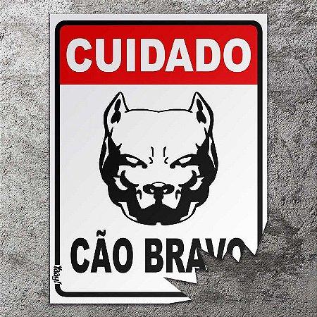Placa Decorativa Cuidado Cão Bravo
