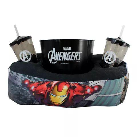 Kit Almofada de Pipoca e Copos Avengers