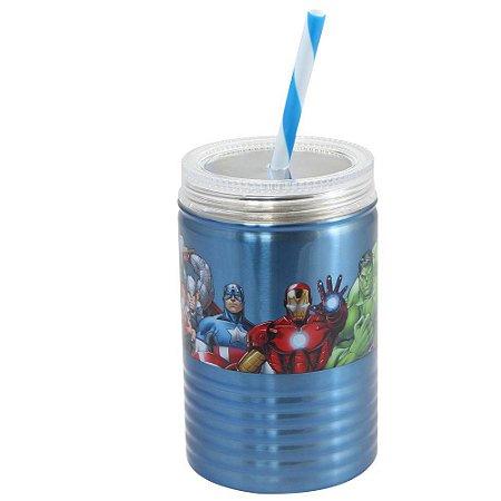 Copo de Metal 550ml com Canudo Avengers