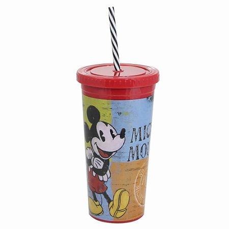 Copo com Canudo Malibu 600ml Mickey - Elementos