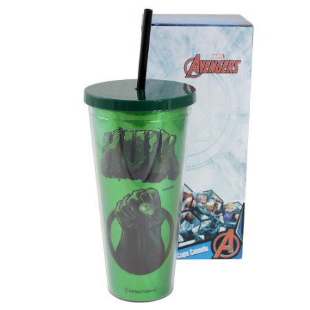 Copo com Canudo 650ml Avengers - Hulk