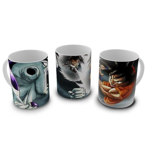 Caneca Dragon Ball - Goku, Vegeta e Freeza Confronto