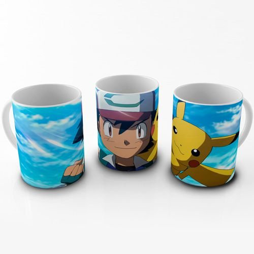 Caneca Pokemon - Ash e Pikachu
