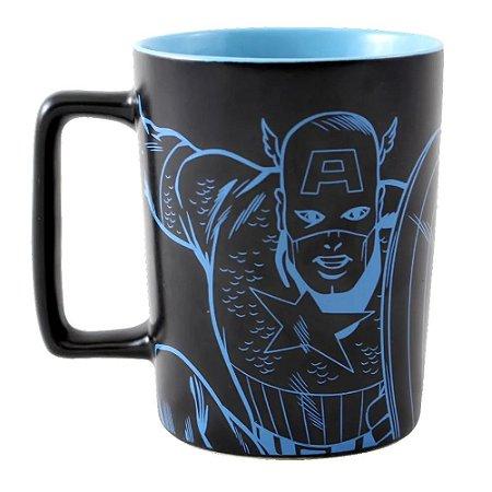 Caneca com Alça Quadrada 500ml Marvel - Capitão América