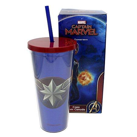 Copo com Canudo 650ml Avengers - Capitão Marvel