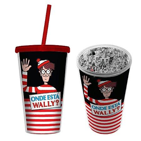 Copo com Canudo 500ml Onde Está Wally?