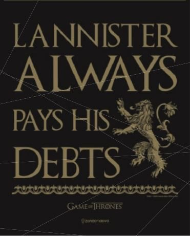 Placa de Metal 26x19 Lannister - Always Pays His Debits