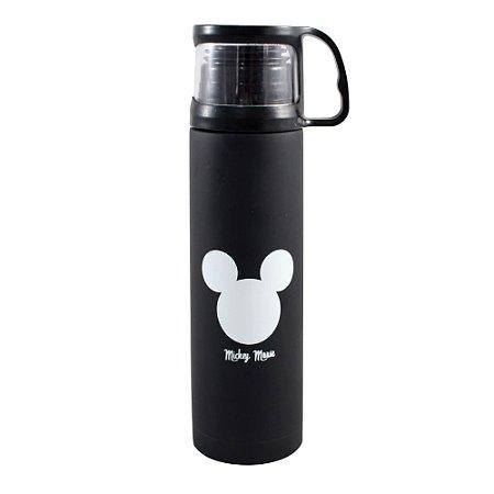 Garrafa Térmica Emborrachada com Tampa Xícara 500ml Disney - Mickey Logo