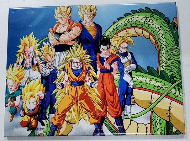 Quadro de Metal 26x19 Dragon Ball - Turma Saiyajin