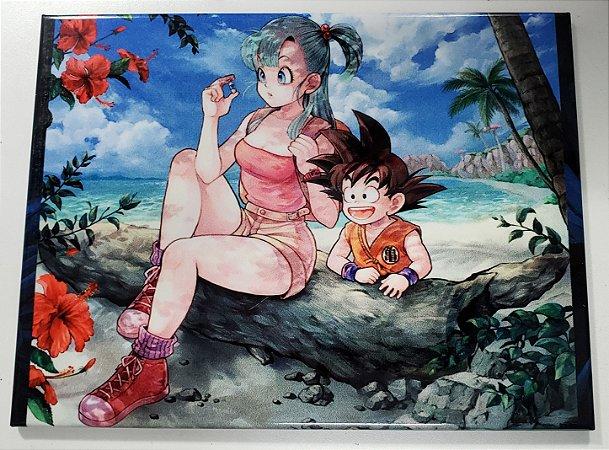 Quadro de Metal 26x19 Dragon Ball - Goku e Bulma Praia