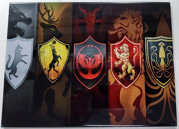 Quadro de Metal 26x19 Game of Thrones - Casas