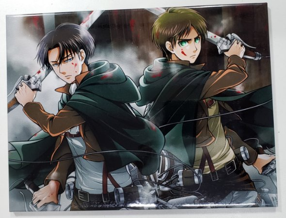 Quadro de Metal 26x19 Attack on Titan - Levi e Eren