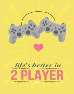 Quadro de Metal 26x19 Playstation - Lifes is Better in 2 Player