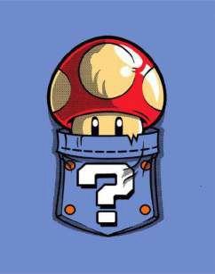 Quadro de Metal 26x19 Super Mario Cogumelo no Bolso