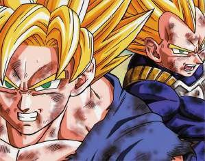 Quadro de Metal 26x19 Dragon Ball Z - Goku e Vegetal Super Sayajin
