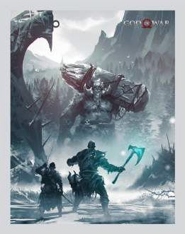 Quadro de Metal 26x19 God of War - Kratos e Atreus Luta