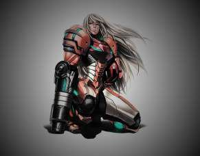 Quadro de Metal 26x19 Metroid - Samus Aran