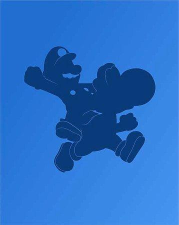 Quadro de Metal 26x19 Mario e Yoshi Silhueta