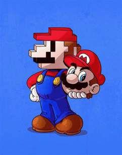 Quadro de Metal 26x19 Mario Pixelado