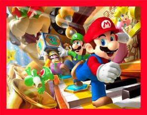 Quadro de Metal 26x19 Mario Party - Turma