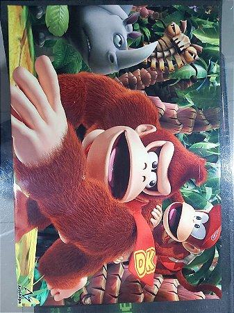 Quadro de Metal 30x40 Donkey Kong e Diddy Kong
