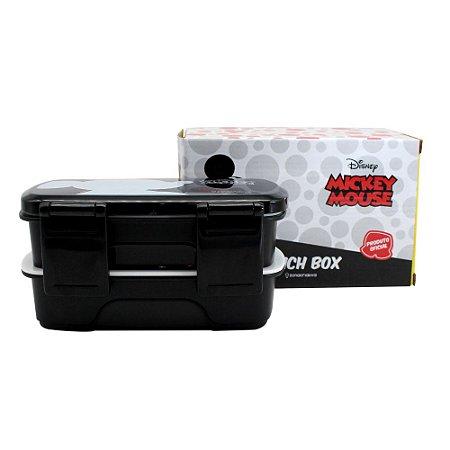 Lunch Box c/ 2 Compartimentos e Talheres 750ml Mickey - Silhueta