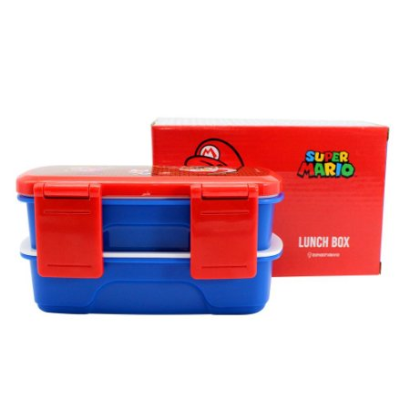 Lunch Box c/ 2 Compartimentos e Talheres 750ml Super Mario - Salvando Princesa