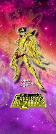 Quadro de Metal 26x11 Cavaleiros do Zodíaco - Aiolos de Sagitário