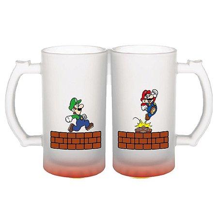 Conjunto de Canecas de Chopp Fosca 450ml Nintendo - Mario Bros