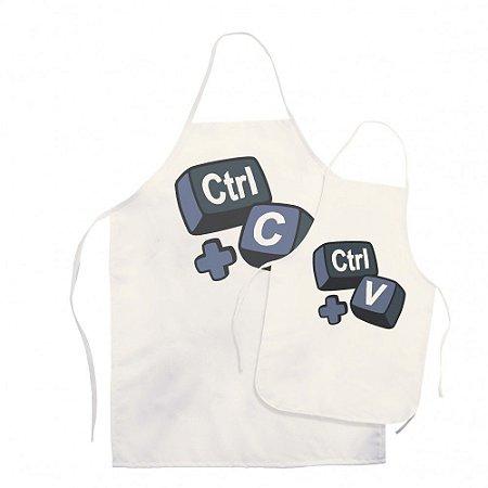 Kit Avental Adulto e Infantil Ctrl+C Ctrl+V