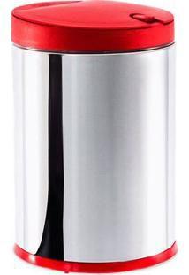 Lixeira Inox com tampa Vermelha - 4L - BRINOX
