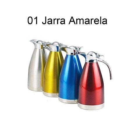 Jarra Térmica de Vácuo Inox  - 1,5 L - Redonda - Amarela - Gp Inox