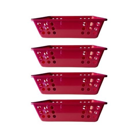 Jogo com 5 Cestinhas organizadoras Vermelhas - Plasticom