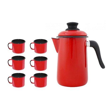 Conjunto café  - Bule café n14 + 6 canecas nº 6 - Esmaltado - Vermelho - Ewel