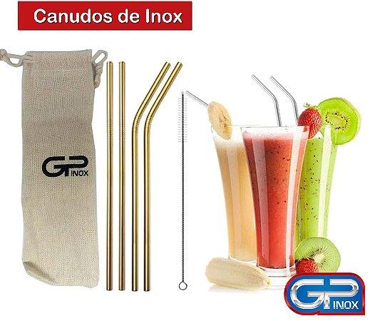 Jogo Canudo Inox Coloridos - Dourado- Reutilizável - 06 Peças - GP INOX
