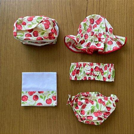 Biquíni + chapéu + bolsa + fralda - 12 meses