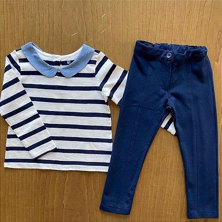 Conjunto manga longa GAP + calça Importada - 3 a 4 anos