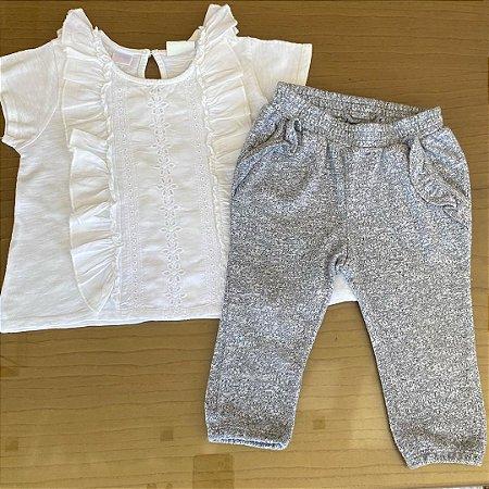 Conjunto Bata Zara e calça GAP - 6 a 12 meses