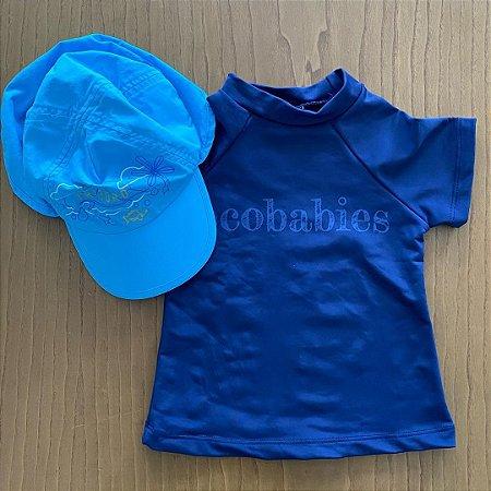 Camiseta e Boné importados com fator de proteção - 12 meses