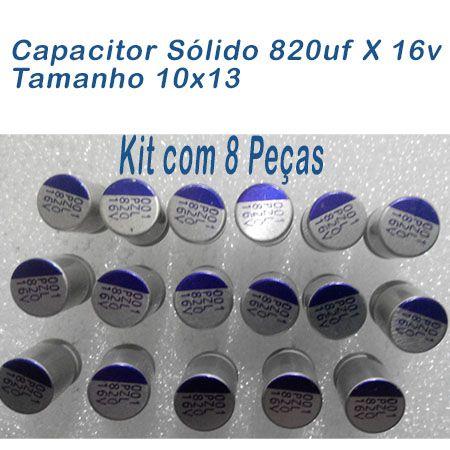 Capacitor Sólido 820uf X 16v Tamanho 10x13 Kit 08 Peças