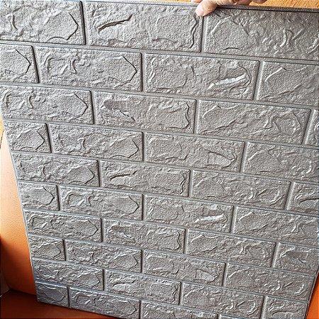 Painel Placa 3d Tijolo Cinza Espuma Adesiva 70 X 76 Parede