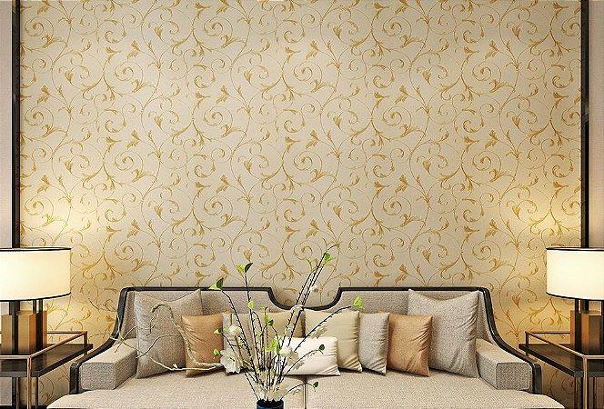 Papel De Parede Importado Floral Dourado Relevo Texturizado