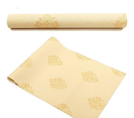 Papel De Parede 3d Vinílico Arabesco Dourado Texturizado