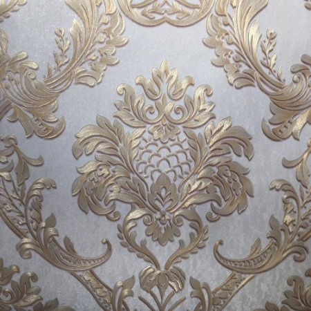 Papel de Parede Damask Dourado Nude 3d Vinílico Texturizado