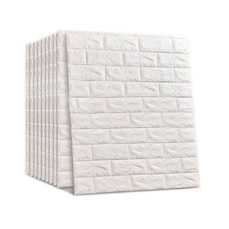 24 Pçs Painel Placa 3d Tijolo Branco Espuma Adesiva 70 X 76