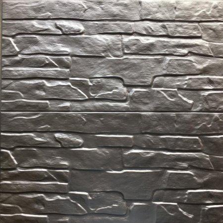 Painel Placa 3d Tijolo Cinza Prateado Espuma Adesiva 60 X 60