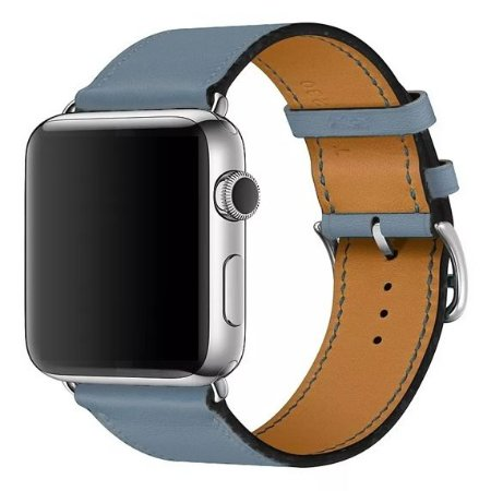 Pulseira Single Tour Couro P/ Apple Watch Azul 42/44mm