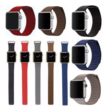 Pulseira Couro Loop Para Apple Watch 42mm 38mm 40mm 44mm